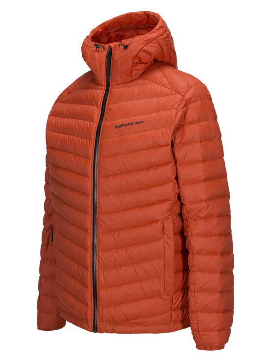 Men's Frost Down Hooded Jacket Orange Lava | Peak Performance