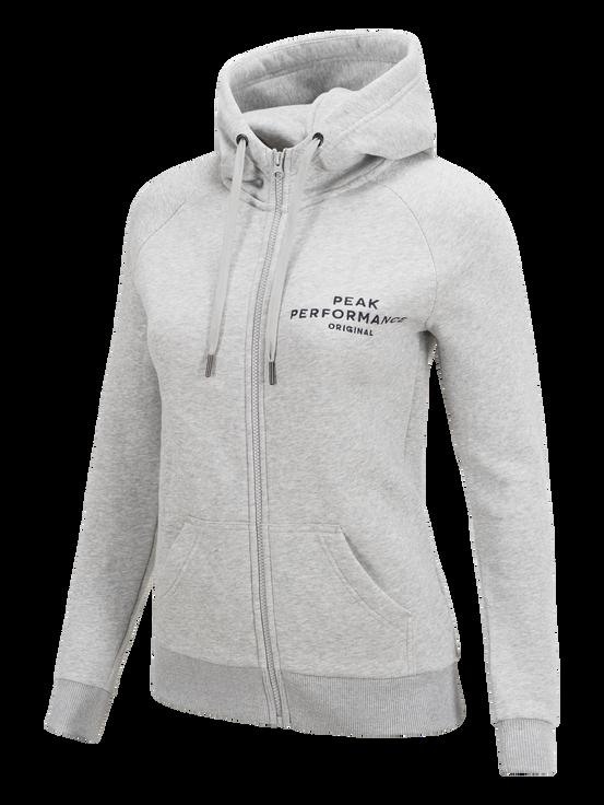 Damen Logo Mit Reißverschluss Hoodie Med Grey Mel | Peak Performance