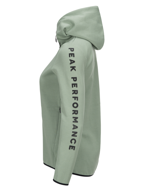 Women's Tech Zipped Hoodie Downy Green | Peak Performance