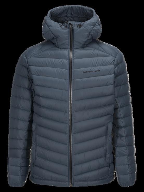 Men's Frost Down Hooded Jacket Blue Steel | Peak Performance